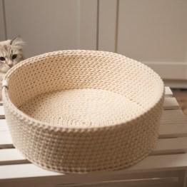 Legowisko dla kota okrągłe kremowe
