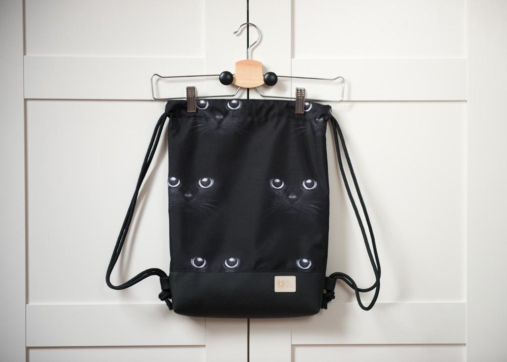 39842b0c1d9c3 Worek plecak wodoodporny w koty Czarny – Felis