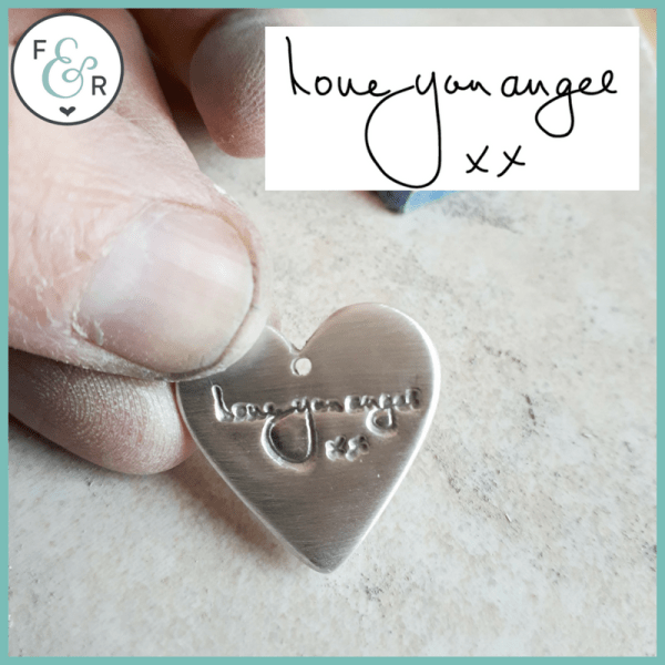 solid silver handwriting pendant