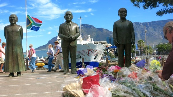Flowers on the memorial at Nobel Square in Cape Town, honoring the father of the nation after his passing on Dec 5th, 2013.