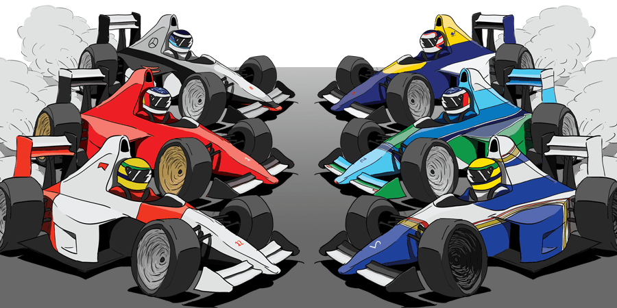 Design: 90's F1 Cartoon Cars - Purchaseable on RedBubble