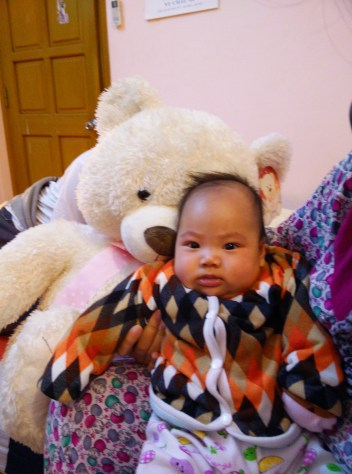 Mit and her new bear