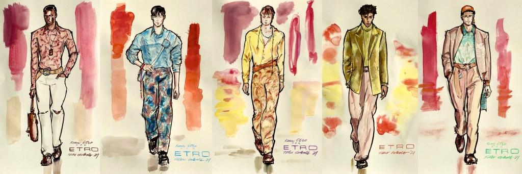 mode illustration von fünf männlichen models auf dem Laufsteg
