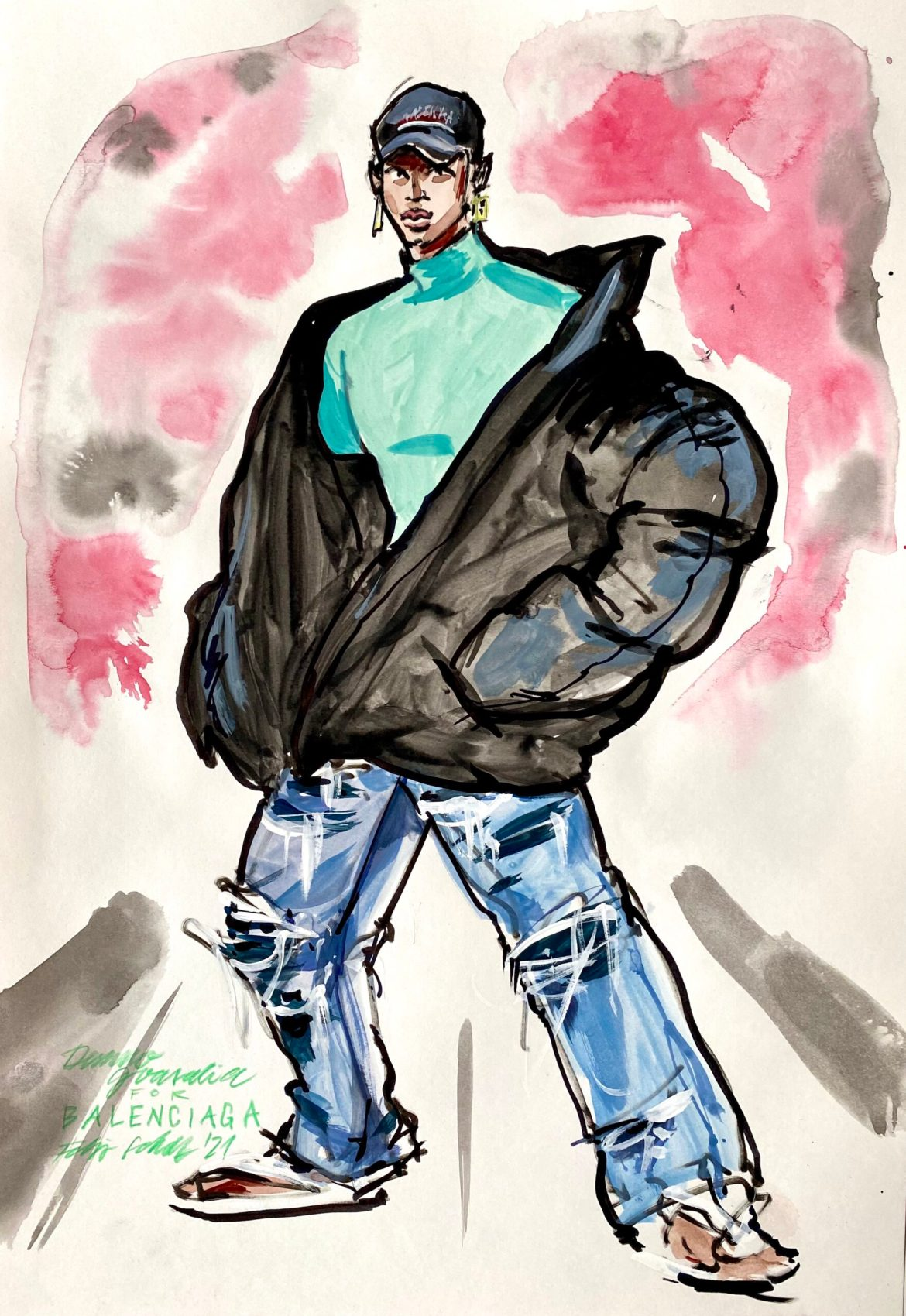 Fashion illustration of a man in ripped jeans and a big parka