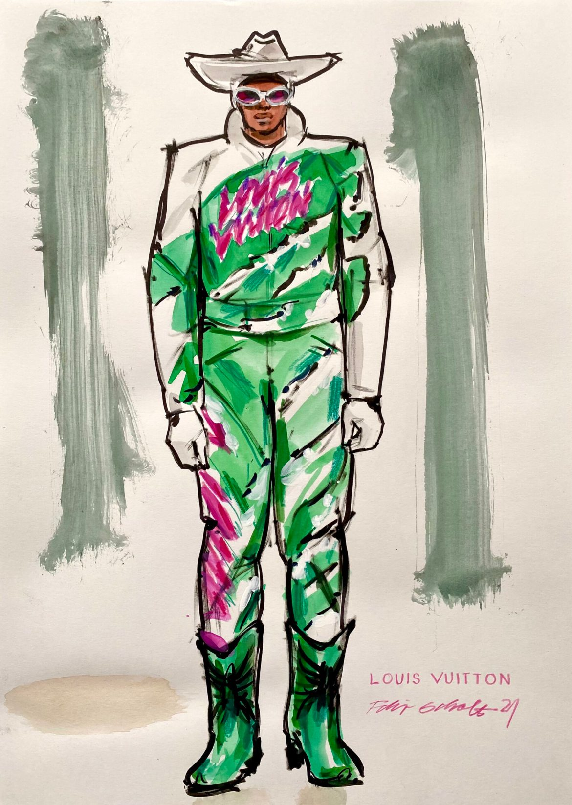 Fashion Illustration of a mal model in a green and pink biker suit