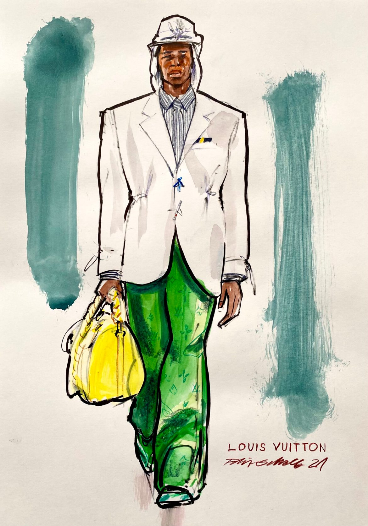 Fashion Illustration of a mal model with green trousers white jacket carrying a yellow bag