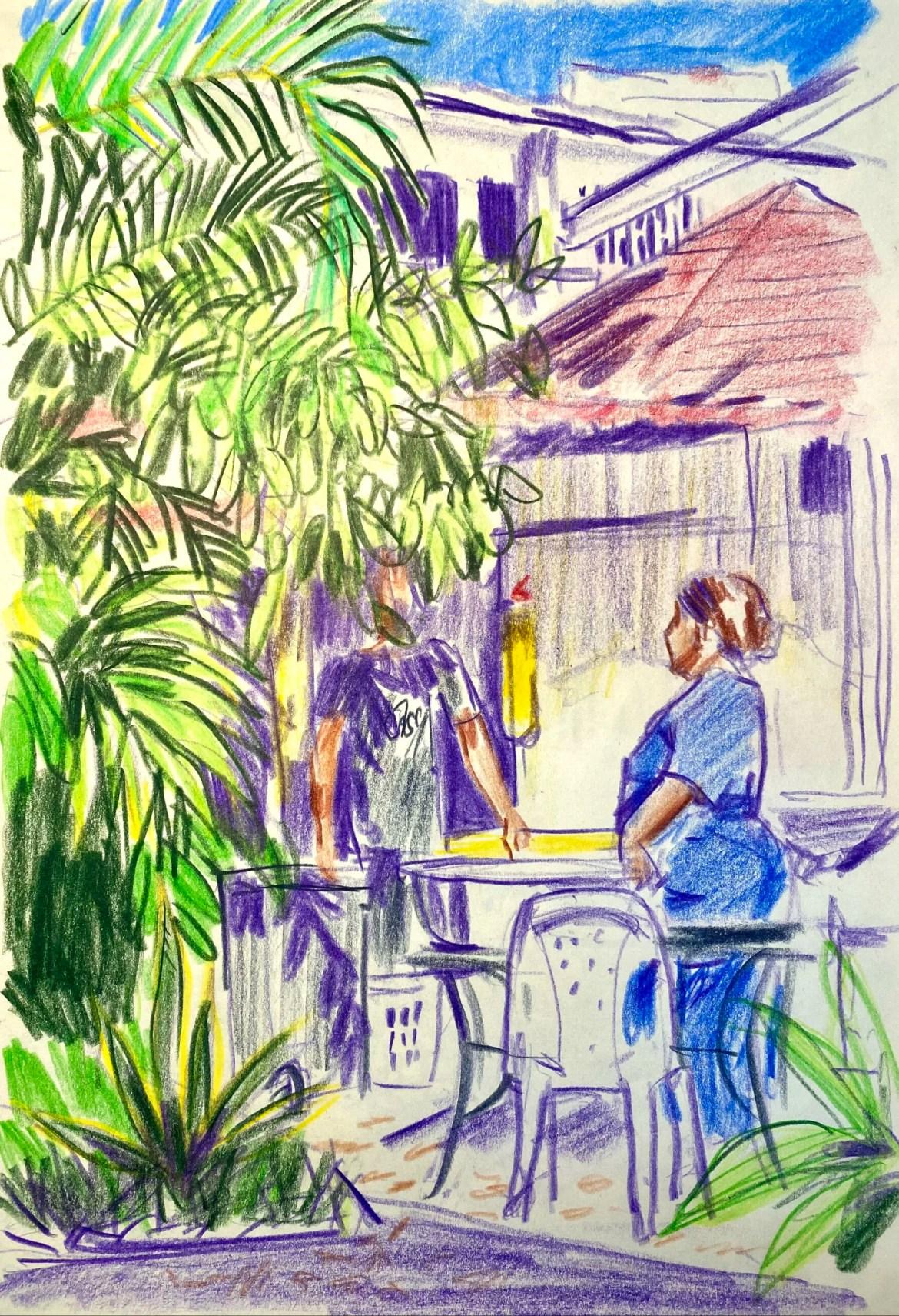 eine farbenfrohe Zeichnung von einer Frau und einem mann die sich im schatten tropischer pflanzen neben einem Gebäude unterhalten