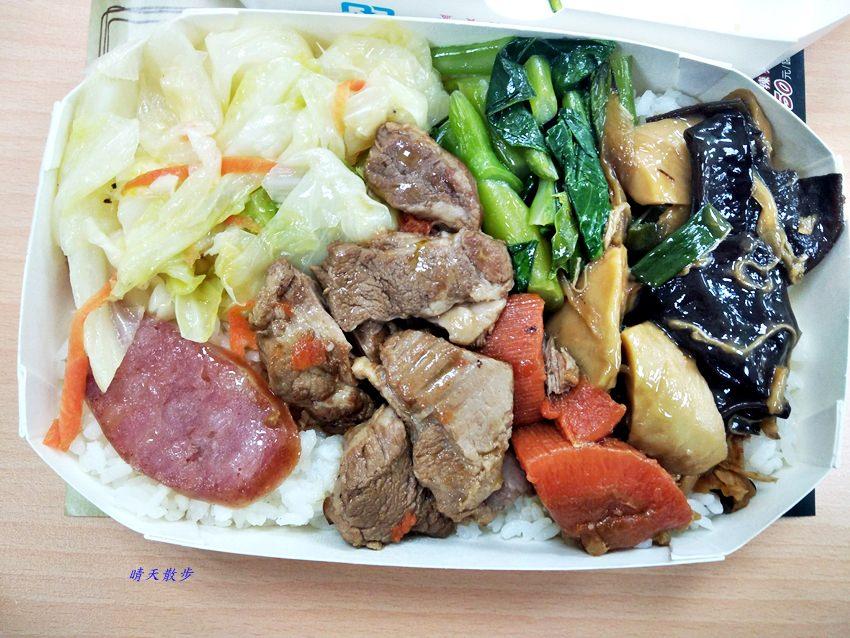 西區便當 杜舖食堂~博館二街特色便當攤車 主菜有干貝花枝燒、獅子頭、鹹豬肉