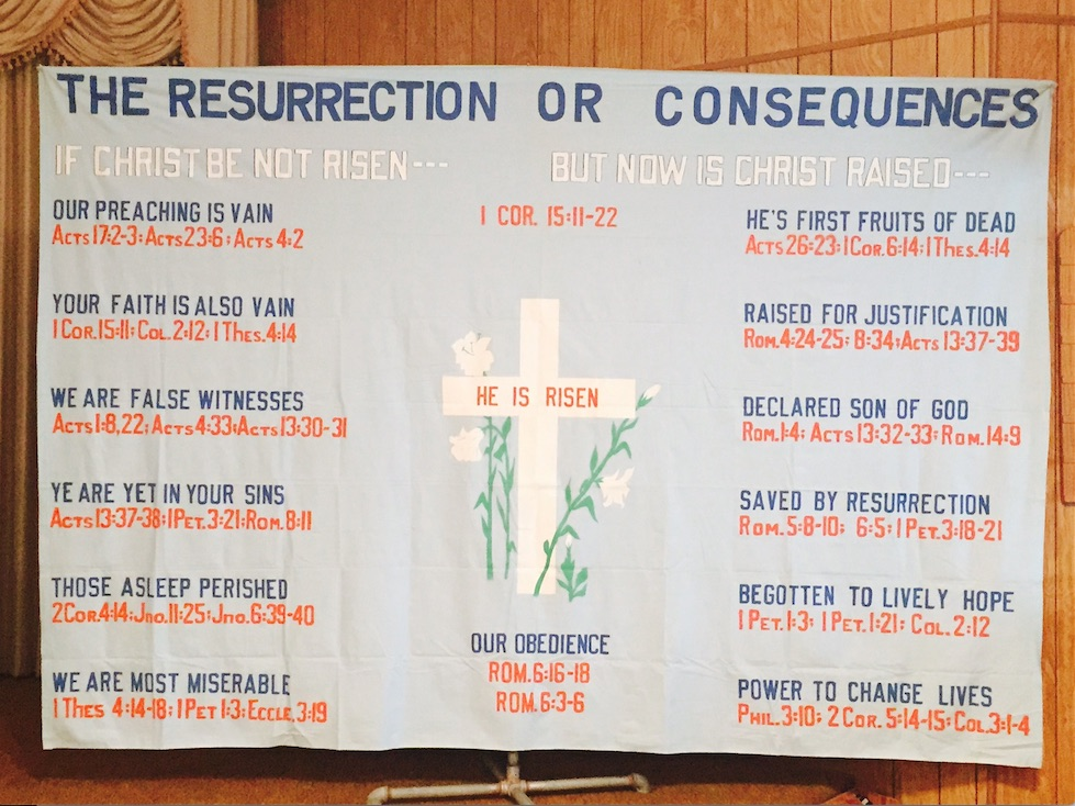 Bed sheet chart lesson on The Resurrection or Consequences