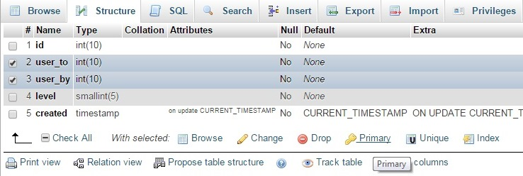 Setting composite primary key in phpMyAdmin