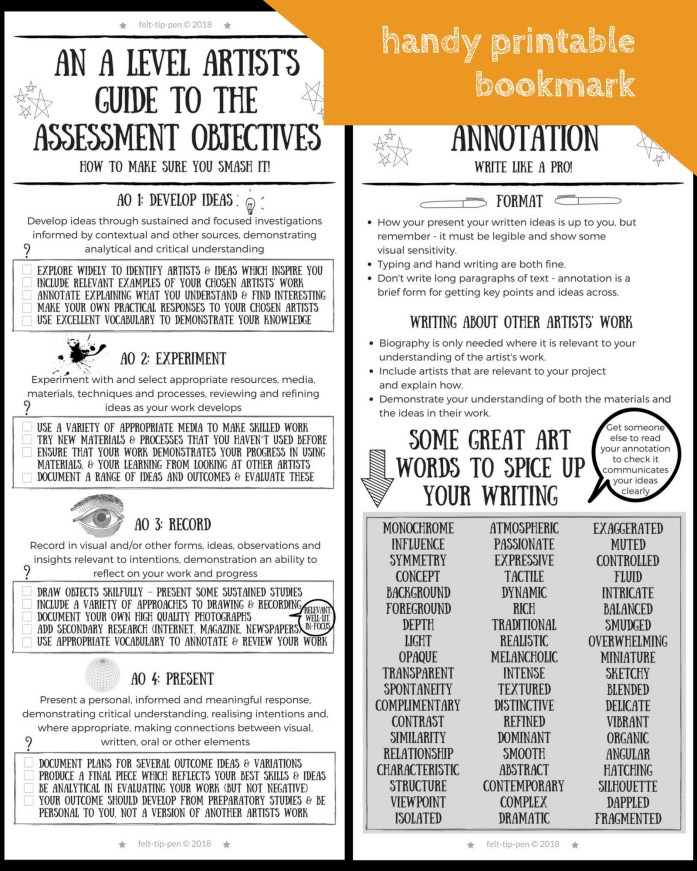 A level art exam: student support materials for 2018 - printable infographic bookmark with advice on assessment objectives, vocabulary and annotation for KS5 students #alevelart #artteaching #artsed – www.felt-tip-pen.com