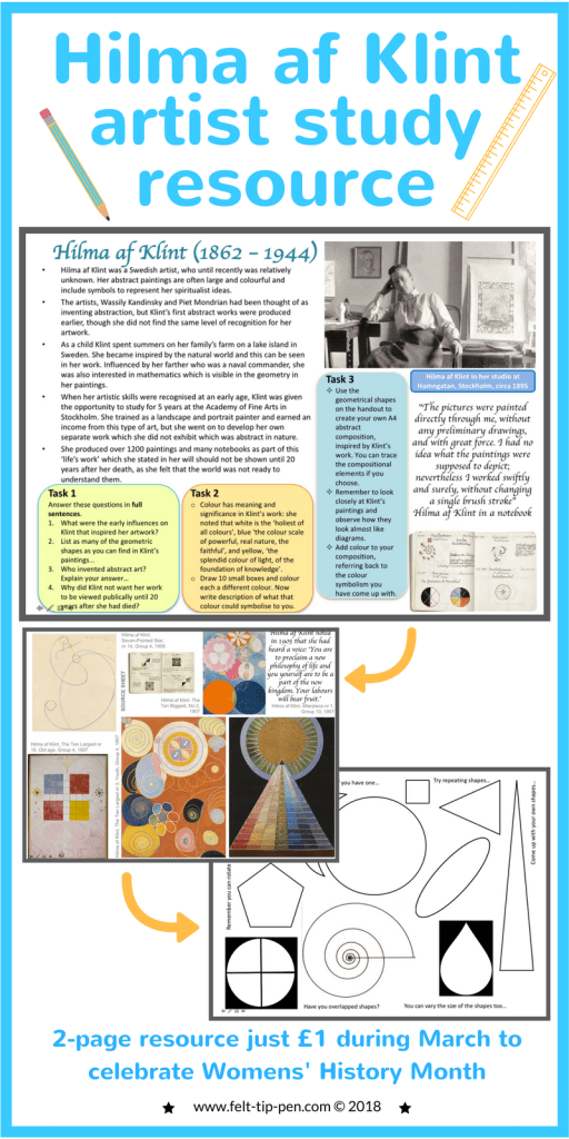 Celebrate #IWD with a fantastic artist resource on Hillman af Klint for just £1. Students complete a comprehension task about the artists and a practical activity responding to their work. #artteacher #resources #arthistory