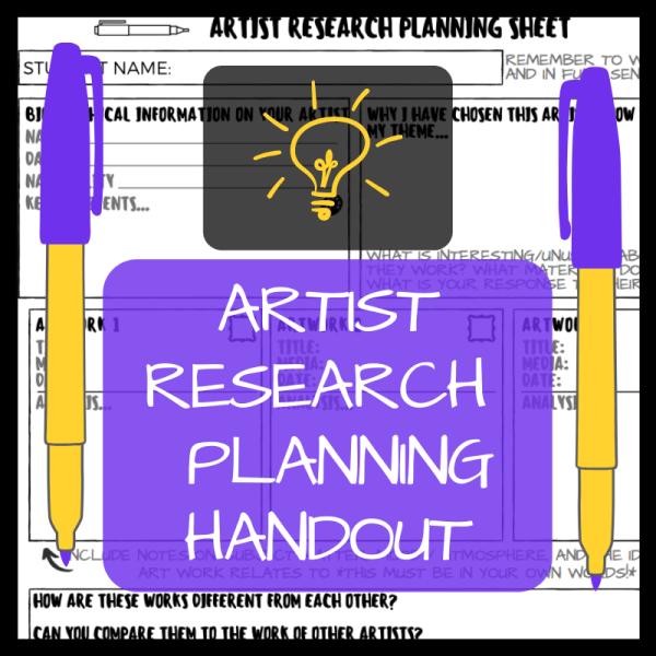 artist research planning handout