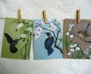 Pack of 3 'Vintage bird' cards - Tui