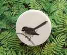 Fantail laser etched perspex brooch