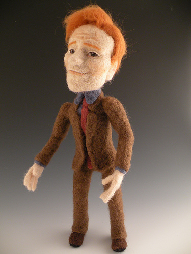 Conan O'Brien needle felted wool celebrity doll by needle felt artist Kay Petal