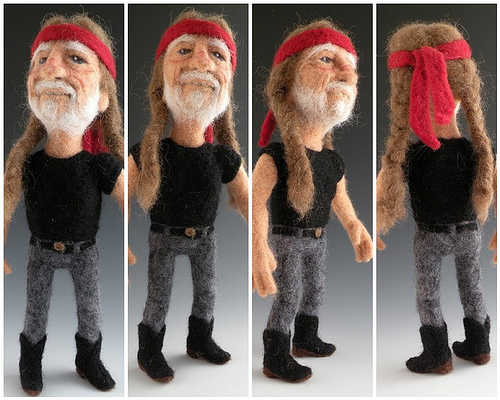 Willie Nelson needle felted wool doll by needle felt artist Kay Petal