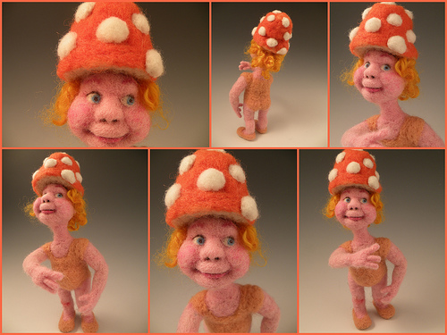 Original Felt Alive Needle Felted Wool Art Doll - Sculptural Needle Felting by