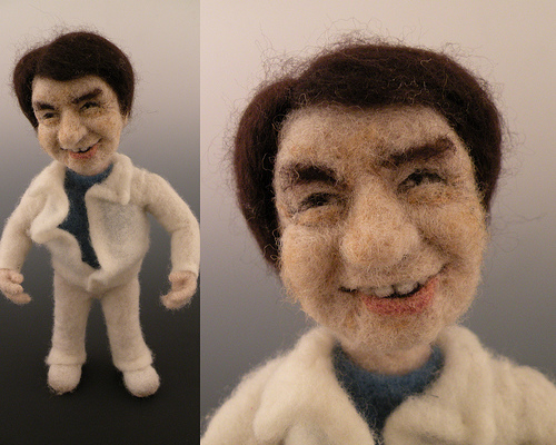 Jackie Chan needle felted wool doll by needle felt artist Kay Petal