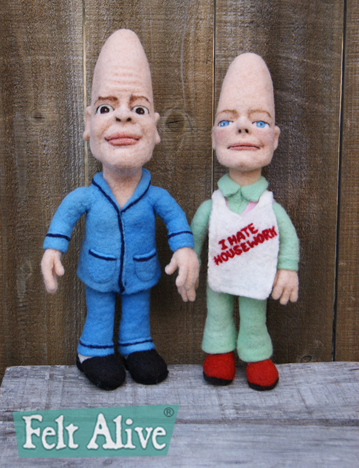 The Coneheads - needle felted wool caricature dolls by Kay Petal - Felt Alive Wool Sculptures - copyright 2015