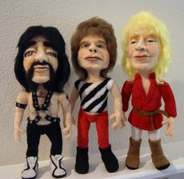 This is Spinal Tap figures caricature dolls needle felted by Kay Petal Felt Alive