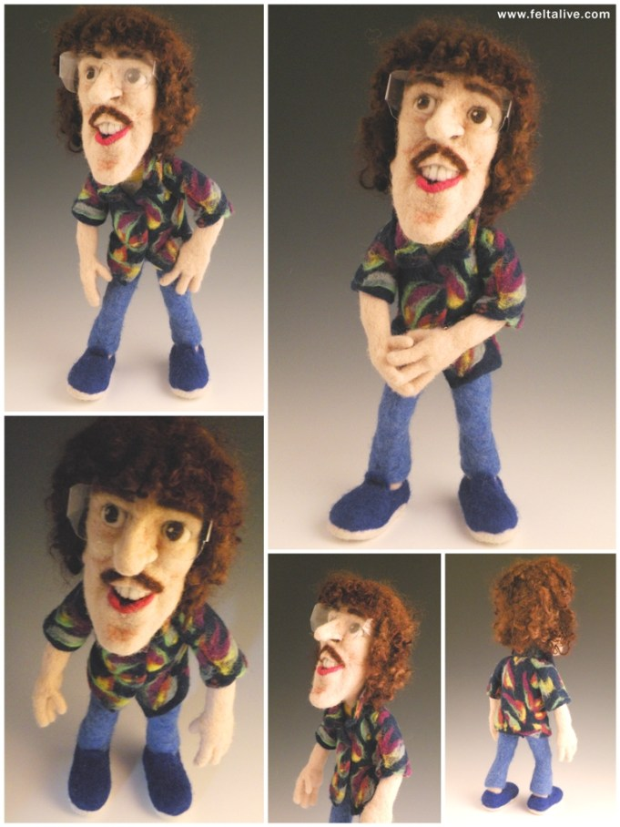 Li'l Weird Al Needle Felted Wool Art Doll