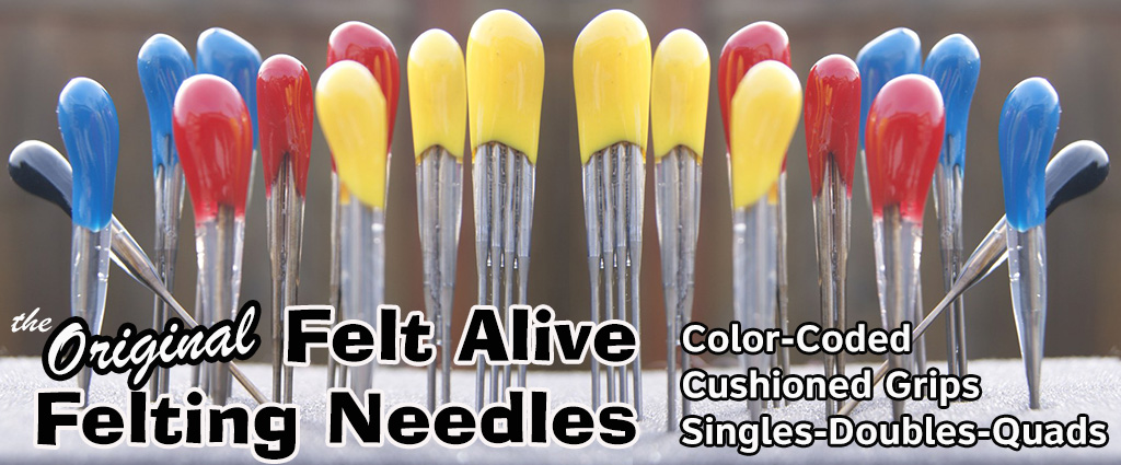 color-coded felting needles with cushioned handles