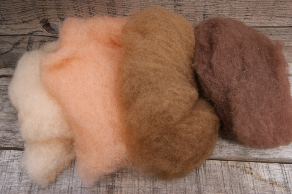 Felt Alive Flesh Tones Wool Batting for Needle Felting