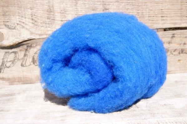 Kettle Dyed Needle Felting Wool Blue 1 Ounce Batt