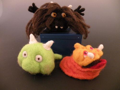 needle felting class - sculpting wool monsters