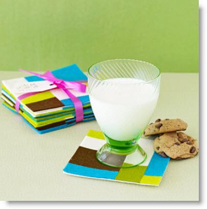 Mod felt coasters craft projects to make as christmas gifts felting - Smashing glass coasters ...