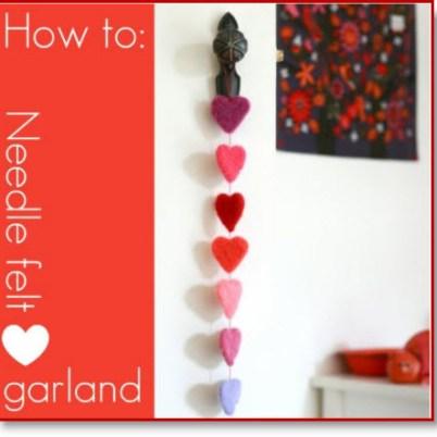 Needle felt Heart Garland