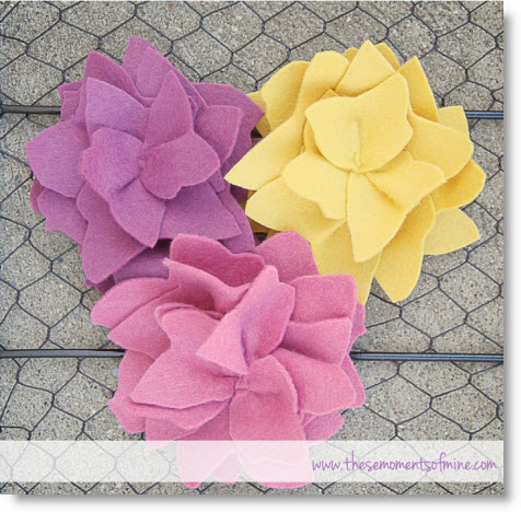 pink felt flowers