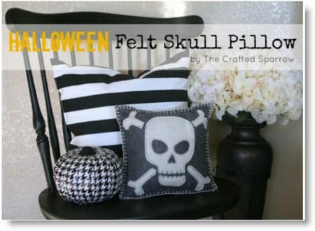 Felt Skull Halloween Pillow
