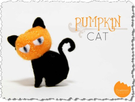 Felt Pumpkin Cat Tutorial