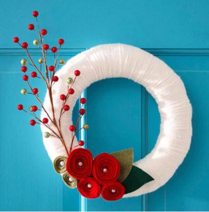 Yarn and Felt to Make a Wreath
