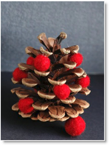 Felted beads tutorial and pine cone christmas ornaments for How to make pine cone christmas tree ornaments