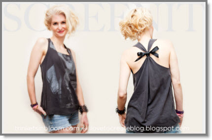 "DIY Rocker T-Shirt Tutorial I love this tank made from an old tee and embellished and then tied with a bow in the back. Cathy of ""trinkets in bloom"" (AKA TiB) and on the first Tuesday …"
