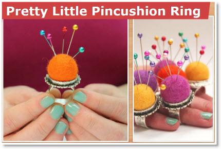 Felt Ball Pincushion Ring