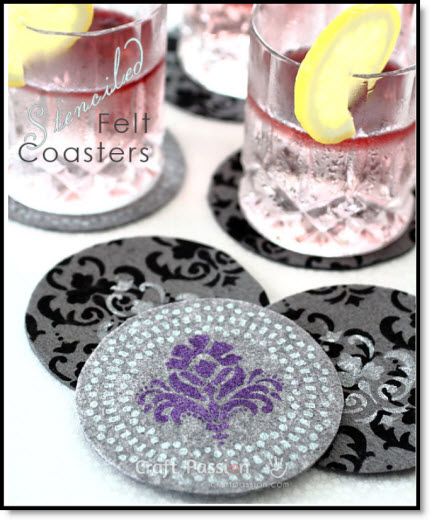 Stenciled Felt Coasters Tutorial