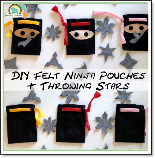 DIY Felt Ninja pouches and throwing stars