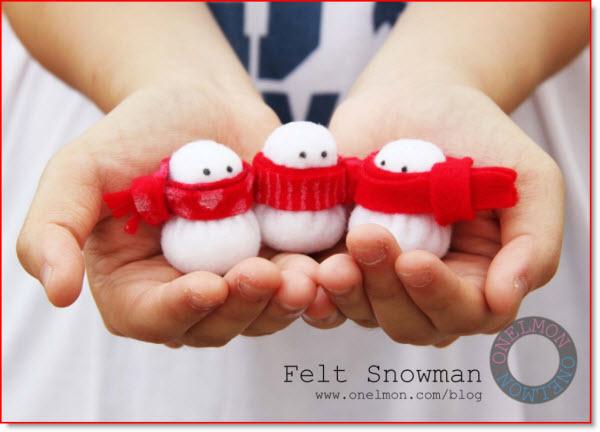 mini felt snowmen