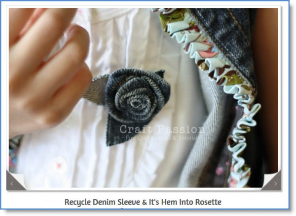 Denim Rosette Brooch