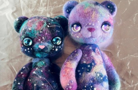 Cosmic Felted Cat