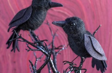 DIY Felted Ravens For Halloween