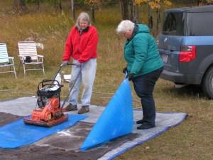 sanding large felt