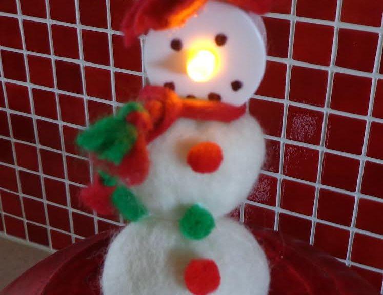 No Snow Required Tea Light Snowman Felting And Fiber Studio