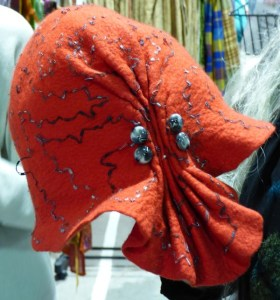 red pleated hat