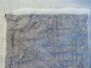 Water Soluble Fabric Pinned to Two Layers of Felt