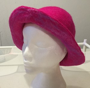 pink hat with silk 1